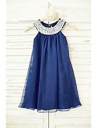 Sheath / Column Knee-length Flower Girl Dress - Chiffon Sleeveless Scoop with