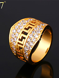 U7® Men's Big Wide Gold Ring 18K Real Gold Plated Clear Cubic Zirconia G Pattern Vintage Band Rings