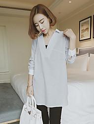 Women's Color Block Gray Shirt , Deep V Long Sleeve