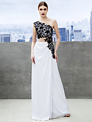 TS Couture® Formal Evening / Black Tie Gala Dress Sheath / Column One Shoulder Sweep / Brush Train Jersey with Appliques