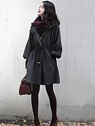 Женский Однотонный Пальто Треугольный вырез с запахом,Большие размеры Осень Серый Длинный рукав,Хлопок / Другое,Средняя