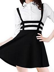 Women's Polyester Pleated Short Braces Skirt