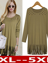 Plus Size Women's  Tassels T-Shirts , Vintage / Sexy / Beach / Casual / Cute  Long Sleeve VICONE