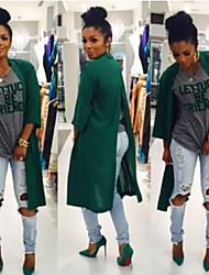 CEN     Women's Solid Color Green Coats & Jackets , Casual Asymmetrical ¾ Sleeve