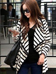 Women's Striped White Trench Coat , Casual Long Sleeve Cotton