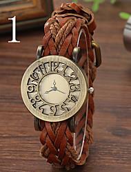 повелительниц часы прилива дней тканые полый ретро заголовок кожаный браслет таблицы