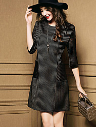 Women's Striped Black Dress  Casual  Work Round Neck  Sleeve