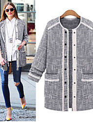 Sweater       Women's Patchwork Gray Coats & Jackets , Casual Round Long Sleeve