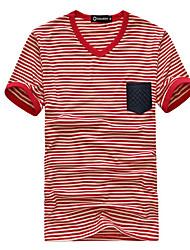Informeel - Gestreept - Korte Mouw - MEN - Katoen - T-shirts - Zwart/Rood