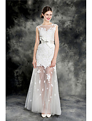 Sheath/Column Wedding Dress - Ivory Sweep/Brush Train Jewel Lace/Tulle