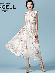 Women's Floral / Boho / Print White Dress , Vintage / Casual / Print / Party / Work / Maxi / Plus Sizes Stand Sleeveless