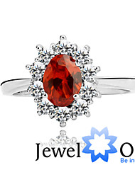 Ring Fashion Party Jewelry Sterling Silver / Cubic Zirconia Women Band Rings 1pc,One Size Red