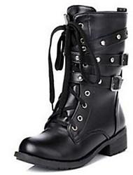 Women's Shoes Vintage Round Toe  Rivet Low Heel Bootie Boots Casual Black