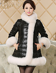 Women Faux Fur / Faux Leather Top , Lined