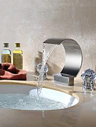 Contemporaneo A 3 fori Cascata with  Valvola in ottone Due maniglie Tre fori for  Cromo , Lavandino rubinetto del bagno