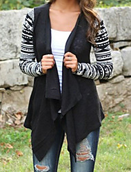 CEN     Women's Patchwork Black / Beige Coats & Jackets , Casual Asymmetrical Long Sleeve