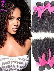 "3 Pcs/Lot 12""-24"" Brazilian Virgin Hair Color 1b Kinky Curly Unprocessed Human Hair Weaves Hot Sale."