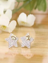 Tous jewelry silver earings 925 women korean tv drama fine jewelry rose gold pentagram 3a cz stud earrings pendientes