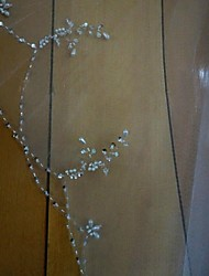 Puntas al dedo(Blanco / Marfil,Tul,Cristales dispersos / Cuenta) -Mantilla-Con abalorios 2 capas