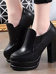 Women's Shoes Chunky Heel Round Toe Heels Dress Black/Beige