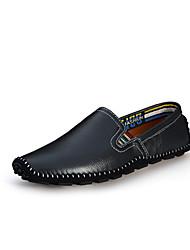 Men's Loafers & Slip-Ons Summer Fall Moccasin Leather Office & Career Casual Flat Heel Black Orange Beige Brown Blue
