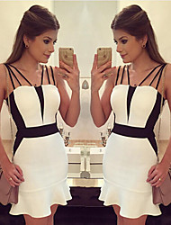 Women's Patchwork White Dresses , Sexy Straps Sleeveless