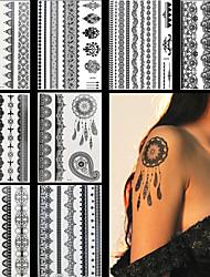 8pcs Body Art Temporary Tattoos Black Flash Metallic Henna Lace Tattoo Sticker Women Jewelry Tattoo Waterproof