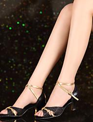 Customizable Women's Dance Shoes Latin Paillette Customized Heel Black/Silver/Gold
