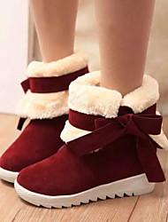 Botas ( PU , Preto / Marrom / Vinho ) Sapatos de Senhora - Salto Raso - 0-3cm