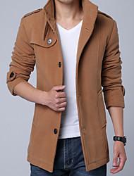 Men's Single-Breasted Fashion Slim Badges Woolen Coat