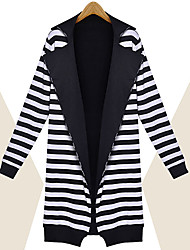 Yana Women'S Long-Sleeved Knit Striped Two Wear Knitted Jacket And Long Sections