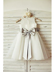 A-line Knee-length Flower Girl Dress - Chiffon / Tulle Sleeveless