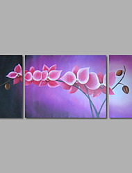 Hand-Painted Oil Painting on Canvas Wall Art Abstract Flowers Pink Blossom Three Panel Ready to Hang