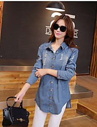 Women's Light Blue Solid Big Size Blouse Coat Or Jeans Shirt with Holes