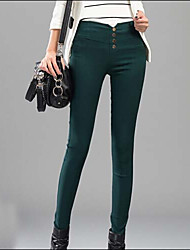 Women's Solid Red / White / Black / Green Skinny Pants , Casual
