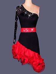 Dança Latina Vestidos Mulheres Actuação Treino Elastano Renda Cristal/Strass Pano-Lateral 2 Peças Cinto Vestidos S-XXL:95   XXXL-4XL:100