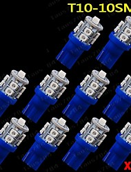 10 PCS Ultra Blue 360°T10 Wedge 10-SMD For Car Dome Map Cargo Interior LED Light