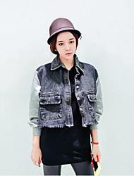 Women's Patchwork Blue / Black Cotton / Denim Jacket , Casual / Cute
