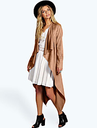 Women's Fashion Faux Leather  Long Sleeve Coat