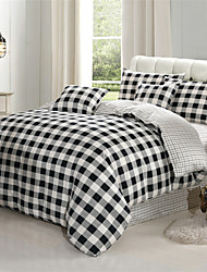 Black White Grey plaid Cotton 4-Piece Bedding Set