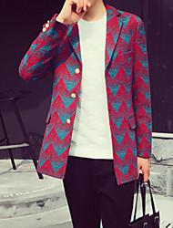 Men's Long Sleeve Long Coat , Cotton Striped