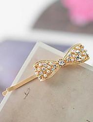 YW Rhinestone Bow Pearl Hairpin Headdress