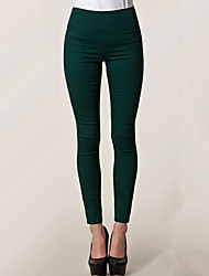 Women's Solid Red / Black / Green Skinny Pants , Casual