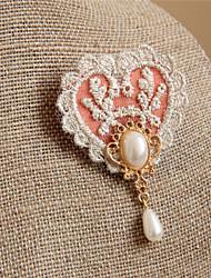 Vintage Lace Scarf Buckle Pearl Love Brooch