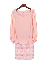 Women's Patchwork / Lace Pink / Black / Yellow Dresses , Casual Round Long Sleeve