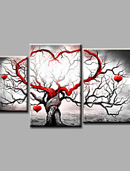 Ready to Hang Stretched Hand-Painted Oil Painting Canvas Wall Art Landscape Trees Modern Three Panels