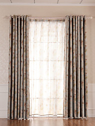 (Two Panels)Traditional  Floral Printed Faux Silk  Polyester Eco-friendly Curtain(Sheer Not Included)