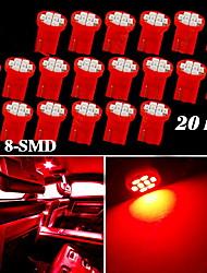 20x puro t10 vermelho 8-SMD cunha porta lateral mapa cúpula interior lâmpadas led luz W5W 168