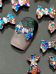 10pcs 3D Colorful Bow Alloy Jewelry Glitter Crystal Nail Art Decoration Tips