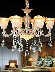 European Style Retro Crystal Pendant lamp American Village living Room lamp